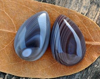 Pair Botswana Agate Cabochon, Tear Drop , Earrings , Semiprecious stone,  Jewelry making Supplies,Q-Stone,Small,26x17x8mm