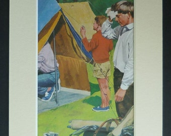 1960s Vintage Peter and Jane Print of the Children on a Camping Holiday Retro summer holiday decor, nostalgic camper art - Vintage Tent Gift