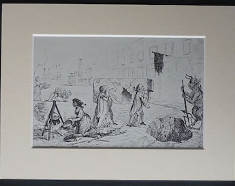 Vintage Print of a 18th Century Satirical Cartoon of 'The Funeral of Trade' British political decor, political satire art, vintage satire