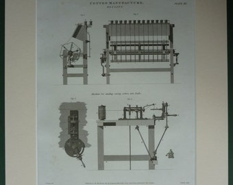 1812 Antique Industrial Revolution Print, Reeling Machinery for Cotton Manufacture Historical industry decor, Antique technical diagram art