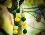 Felted necklace Wool necklace in Yellow / Green  colors