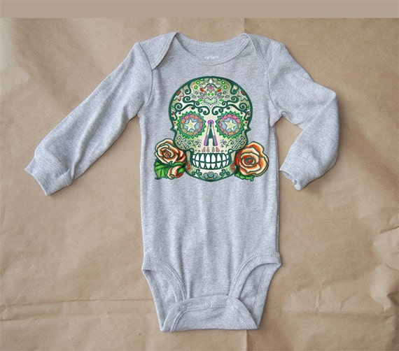 tattoo skull baby clothes long sleeve grey by bonesnelson