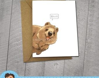Happy Quokka, Hello Card, Note Cards, 5x7 Kraft Envelope, Recycled, Blank Kraft Greeting Card, Great for any use, Animal Illustration