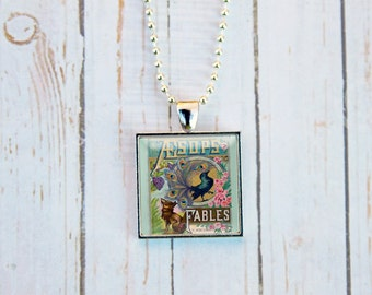 Aesops Fables Necklace, Aesops Fables Jewelry, Aesops Fables Pendant, Aesops Fables, Aesops Fables Gift, Book Lovers Gift, Gift Under 15