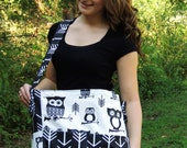 Brownie Gifts Black & White Owls Diaper Bag and Clutch