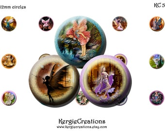 FAIRIES  -  Digital Collage Sheet   -  12mm round images for earrings, bottle caps, pendants, round bezels, etc. Instant Download #56-1.