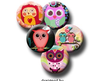 SWEET OWLS Digital Collage Sheet 10, 12, 18mm images for earrings, pendants, round bezels, etc. Instant Download #156-1.