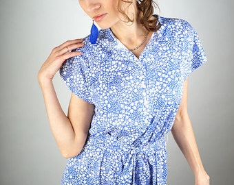 Floral blue summer dress, midi vintage dress, size M/L, 14