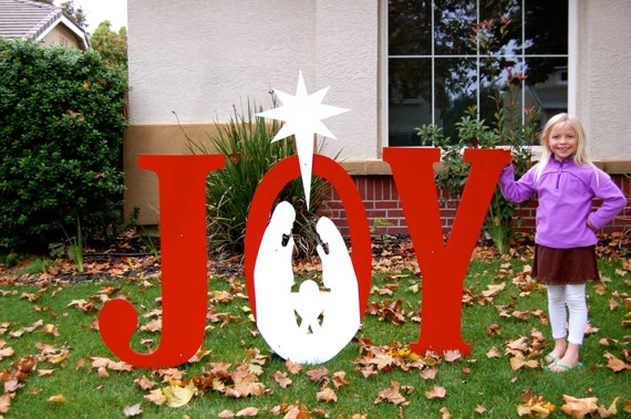 Large joy nativity outdoor christmas holiday by for Large outdoor christmas signs