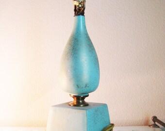 Mid Century Turquoise Lamp Atomic Era