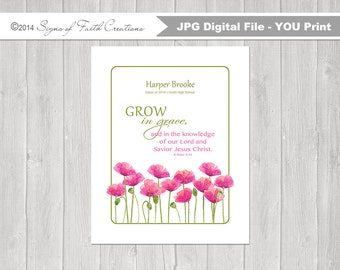 Girls Personalized PRINTABLE Wall Art with Grow in Grace Bible Verse 2 Peter 3:18. Confirmation, Graduation, First Communion, Baptism Gift.