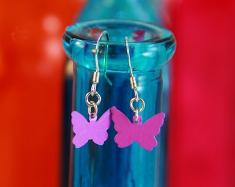 Dark Purple Butterfly Earrings (E0027)