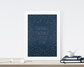 Baby Art Print, Twinkle Twinkle Little Star - Nursery Decor, Lullaby, Baby room, Typography, Stars, Sky