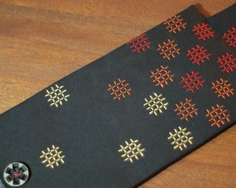 French Press Cozy - Sashiko Embroidered, Black with Red and Orange Checks