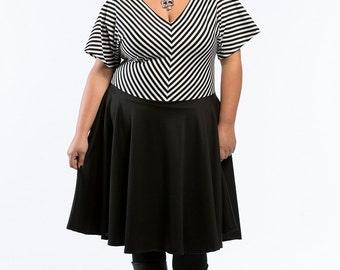 Plus Size Dress Women's Fashion, Stripe Ponte Knit Plus Size Dress, Black and White Plus Size Dress