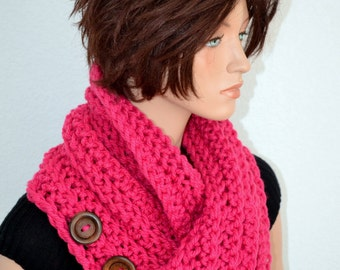 Pink Cowl/ Crochet Neck Warmer/ Winter Cowl/ Button Up Cowl/ Pink Winter Scarf/ Cowl Scarf/ Valentine's Cowl/ Gift for Her/ Fashion Cowl