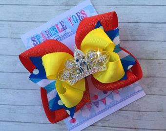 SNOW WHITE BOW - Snow White Birthday - Snow White Party - Snow White Costume - Hair Bow - Crystal Tiara - Toddler, Infant, Big girls Bow