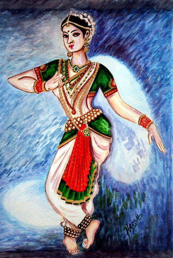 Dancer Painting Original Water Color Indian Classical