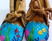 Custom Hand Painted Fish Coral Reef Snorkeling Ocean Baby Moccasins