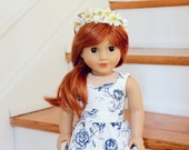 Blue and White Toile Sweetheart Dress American Girl Doll Clothes