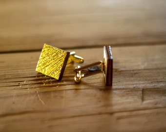 Cuff links square - gold, silver or green