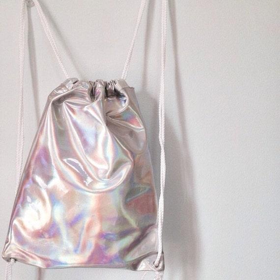 Holographic Drawstring Bag Backpack Silver Hologram Rucksack
