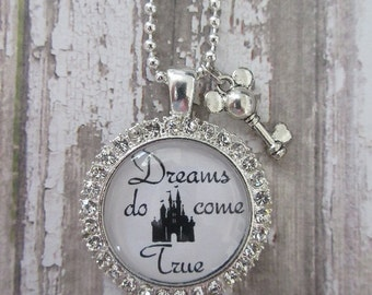 Clear Rhinestone Dreams Do Come True Disney Castle Glass Pendant Necklace With Mickey Key Charm