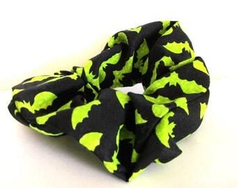 Green Bat Scrunchie for Girls Retro Green with Black, Handmade Hair Tie, Kawaii Cute, Kids Gift, Halloween, Black Friday