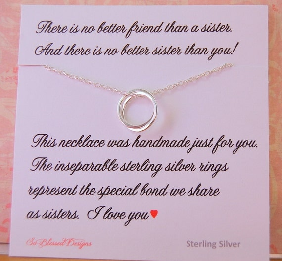SISTER Gift, Sister Necklace, wedding gift, Inseparable Rings ...