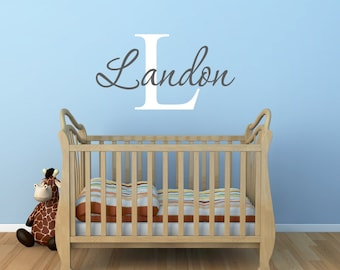 Baby Boy Nursery - Name Wall Decals - Nursery Wall Decal - Baby Wall Decals - Boys Name Decal - Monogram Wall Decal