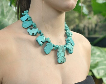 Chunky Turquoise Slab and Sterling Silver Bib Statement Necklace