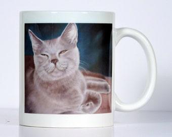Cat Mug, Russian Blue Cat Mug, Gray Cat Mug, Personalized Cat Mug
