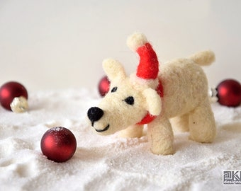 Robbie - Needle felted polar bear, gift under 20, stocking stuffer, red and white,  christmas ornament, winter novelty, cute gift