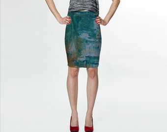 Abstract Sea Forest Curve Enhancing Pencil Skirt, Eco-friendly and printed from original art