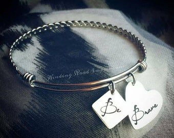 Be Brave- Personalized Hand Stamped Stainless Steel Twist Expandable Bangle Bracelet