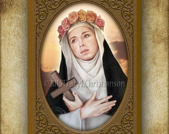 St. Rose of Lima Wood Plaque & Holy Card GIFT SET #3164