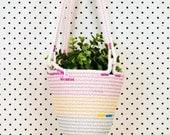 Hanging Plant Basket // Cotton Rope // Custom Colour // Garden, Housewarming Present, Wedding Gift, Outdoors