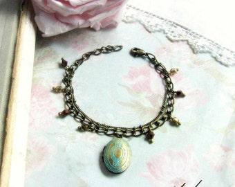 Antique Locket Bracelet Vintage Oval locket Bracelet Antique Bronze Crystals Brown and antique gold bronze locket bracelet Gift for her