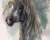 Andalusian horse original   gilded watercolor painting