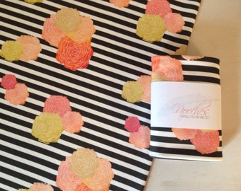 Watercolor Flowers on Black and White Stripes - Organic Swaddling Blanket - modern baby blanket - Coral, yellow, pink