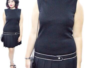 Vintage 70s Butte Knit Drop Waist Shift Flapper-Style Rhinestones Embellished Pleated Skirt Dress