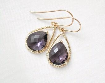 Bridesmaid Earrings, Purple Glass Earrings, Violet Earrings, Bridesmaid Jewelry