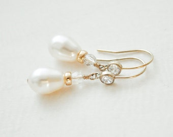 14kt Gold Fill Bridal Earrings, Gold Wedding Earrings, Gold Pearl and CZ Earrings, Gold Wedding Jewellery