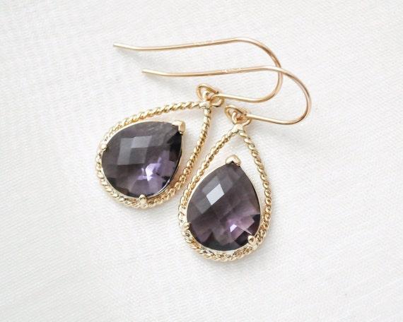 bridesmaid earrings purple glass earrings violet earrings