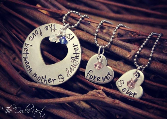 Hand Stamped 3 piece Mother Daughter Necklace Set