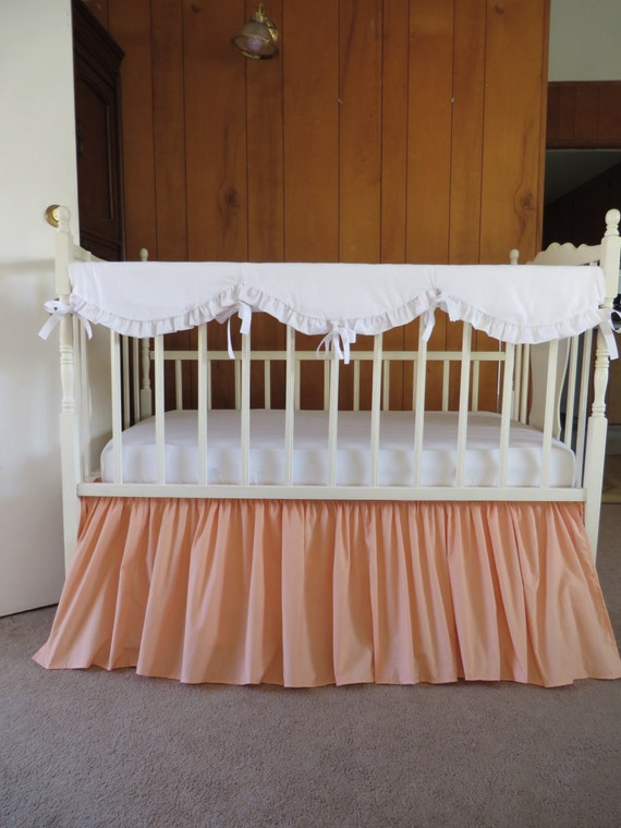 peach crib skirt and white scalloped crib rail cover made to order