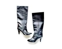 Boots, Black Boots, womens Boots, Suede Leather Boots, Sizse 7 Size 75 Boot, Womens 80s Boots, Biker Boots