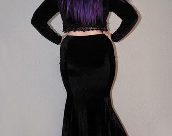 Minerva velvet fishtail skirt