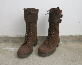 Vtg 90s brown genuine suede leather boots sz eu 38 chunky heel