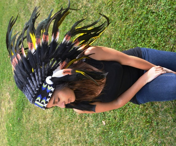 S33-Three colors brown with yellow  Indian Feather Headdress / warbonnet double feather (30 inch / 75 cm)